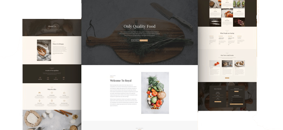 Layout of restaurant website design