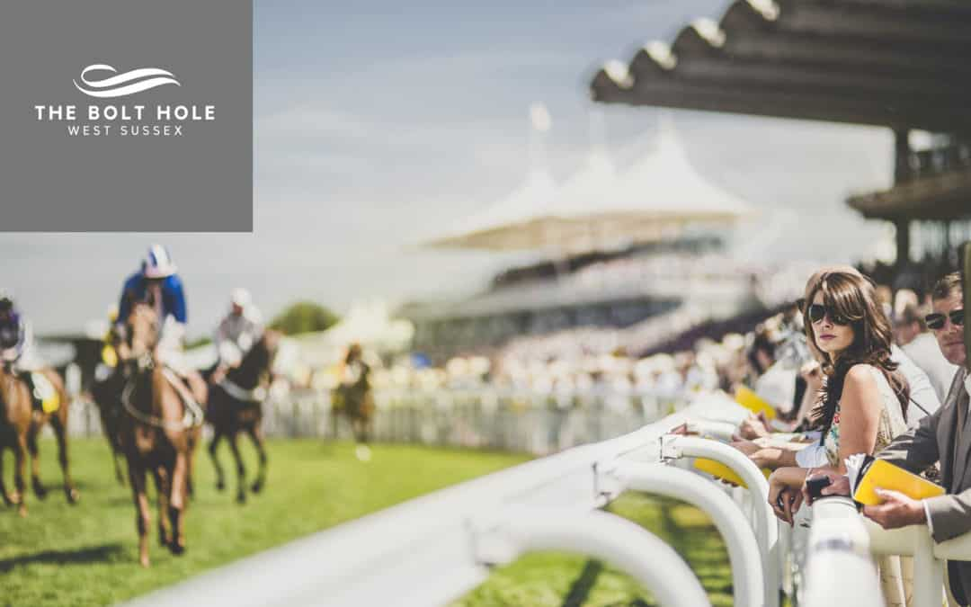 Design Responsive Web Design - A lady at the races with The Sussex Bolt Hole accommodation logo in the top right corner